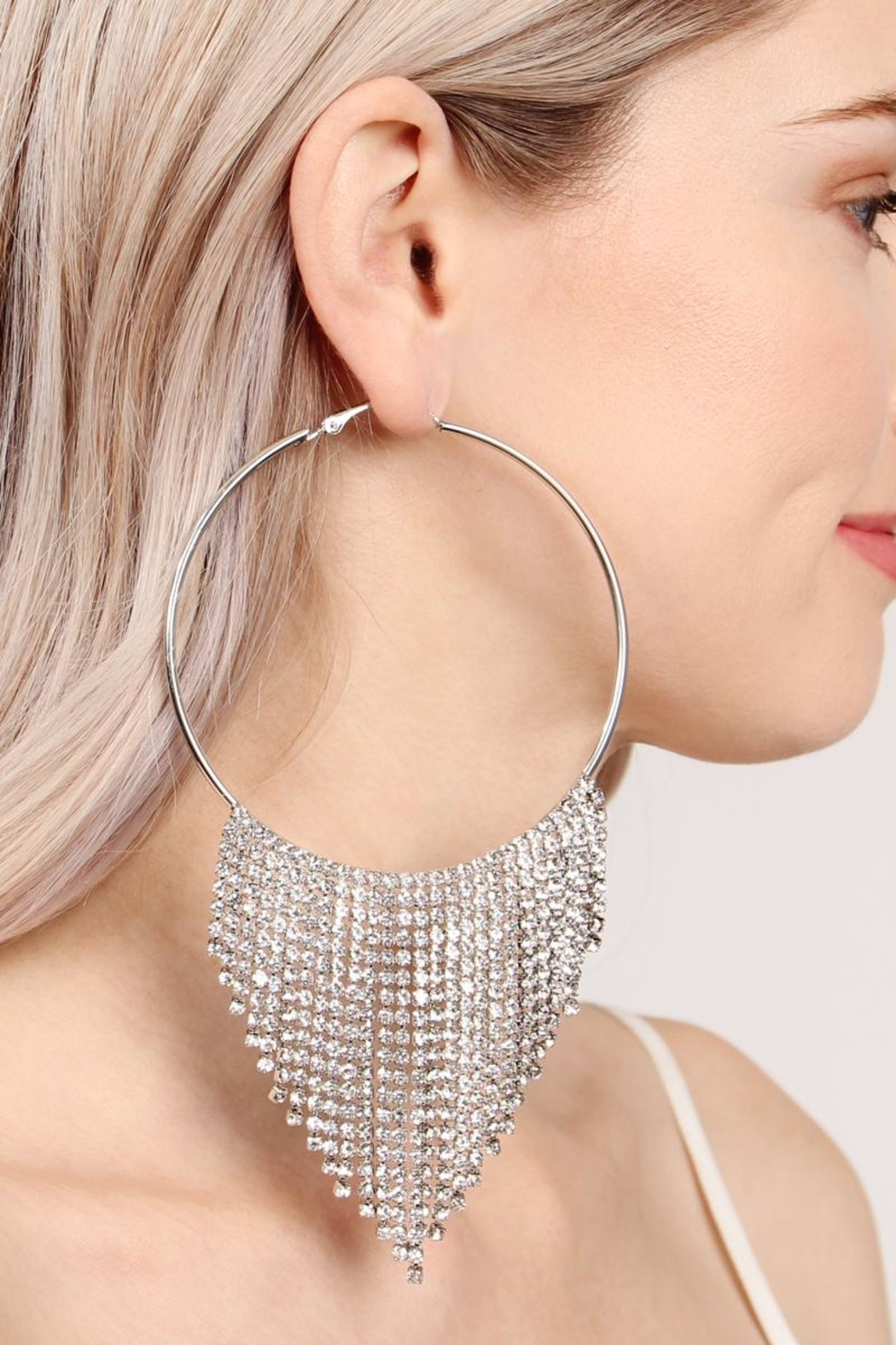 Riah Fashion Chandelier Hoop Earrings - Front Full Image