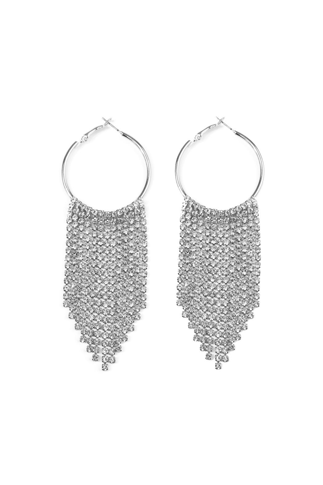 Riah Fashion Chandelier Hoop Earrings - Front Cropped Image