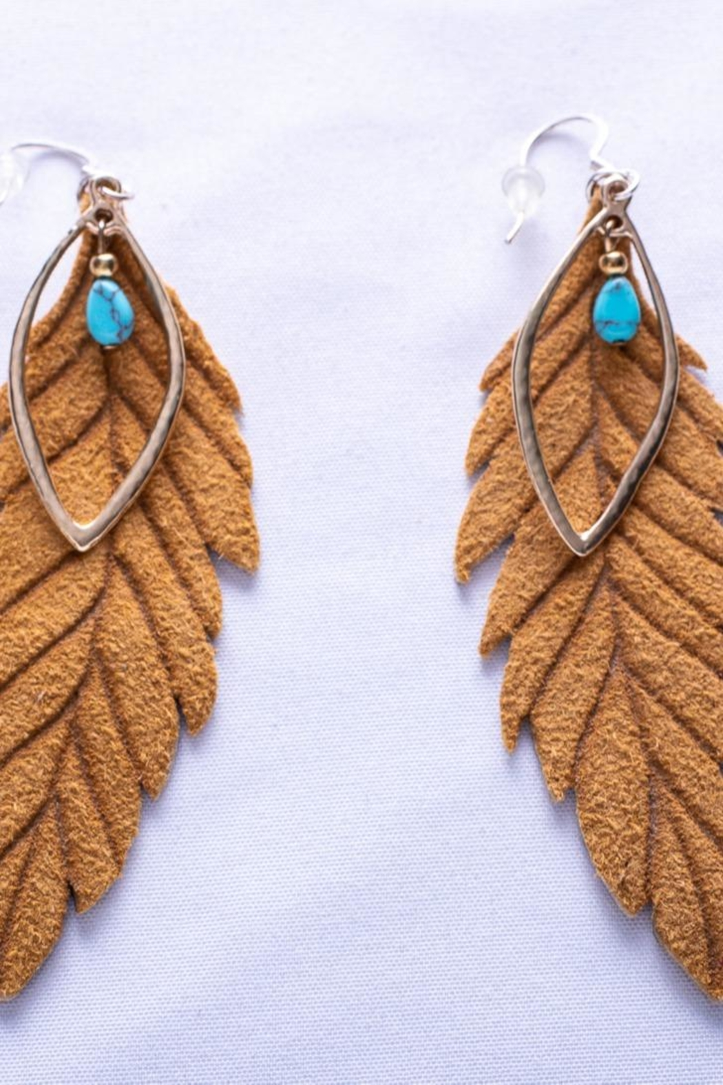 Change Boutique Leather Feather Earrings - Main Image