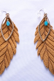 Change Boutique Leather Feather Earrings - Product Mini Image