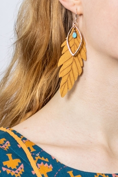 Change Boutique Leather Feather Earrings - Alternate List Image