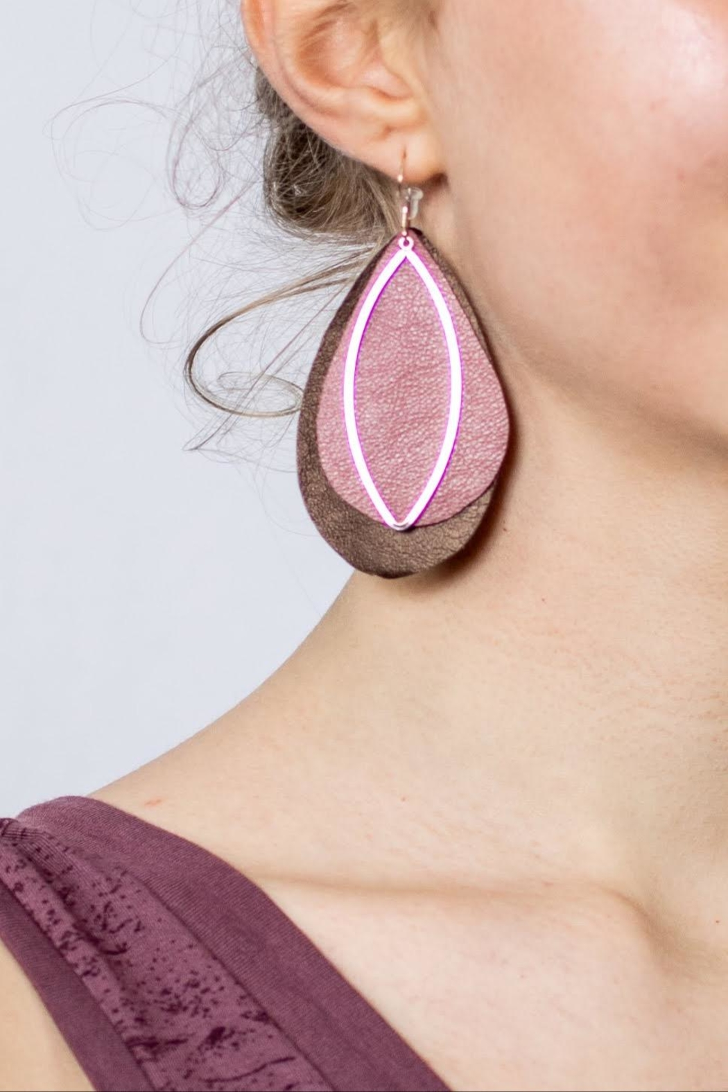 Change Boutique Leather Feather Earrings - Front Full Image