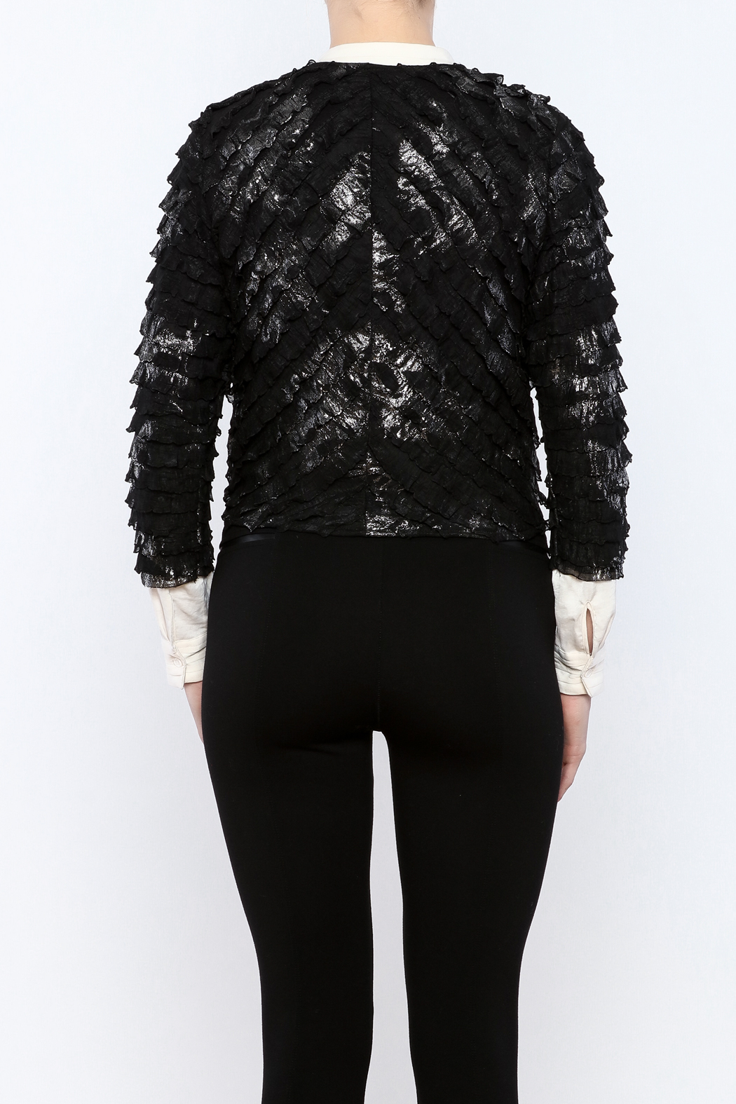 Channa Cropped Tied Jacket - Back Cropped Image