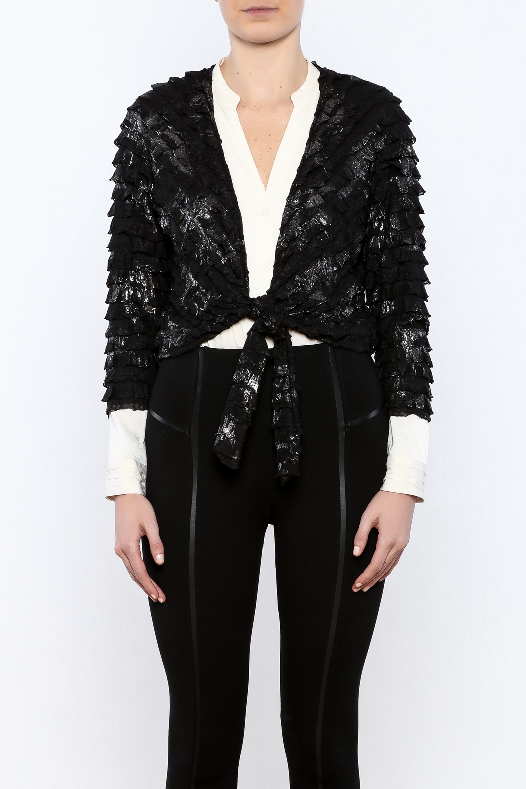 Channa Cropped Tied Jacket - Side Cropped Image