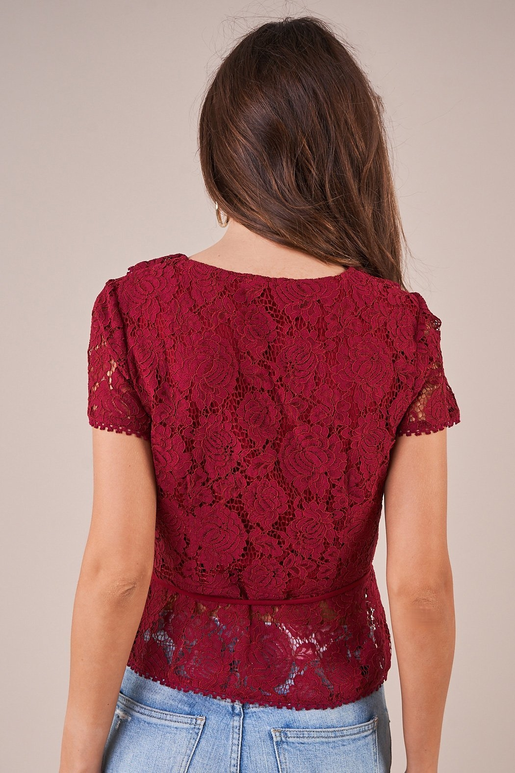 Sugarlips Chantilly Lace Wrap Top - Front Full Image