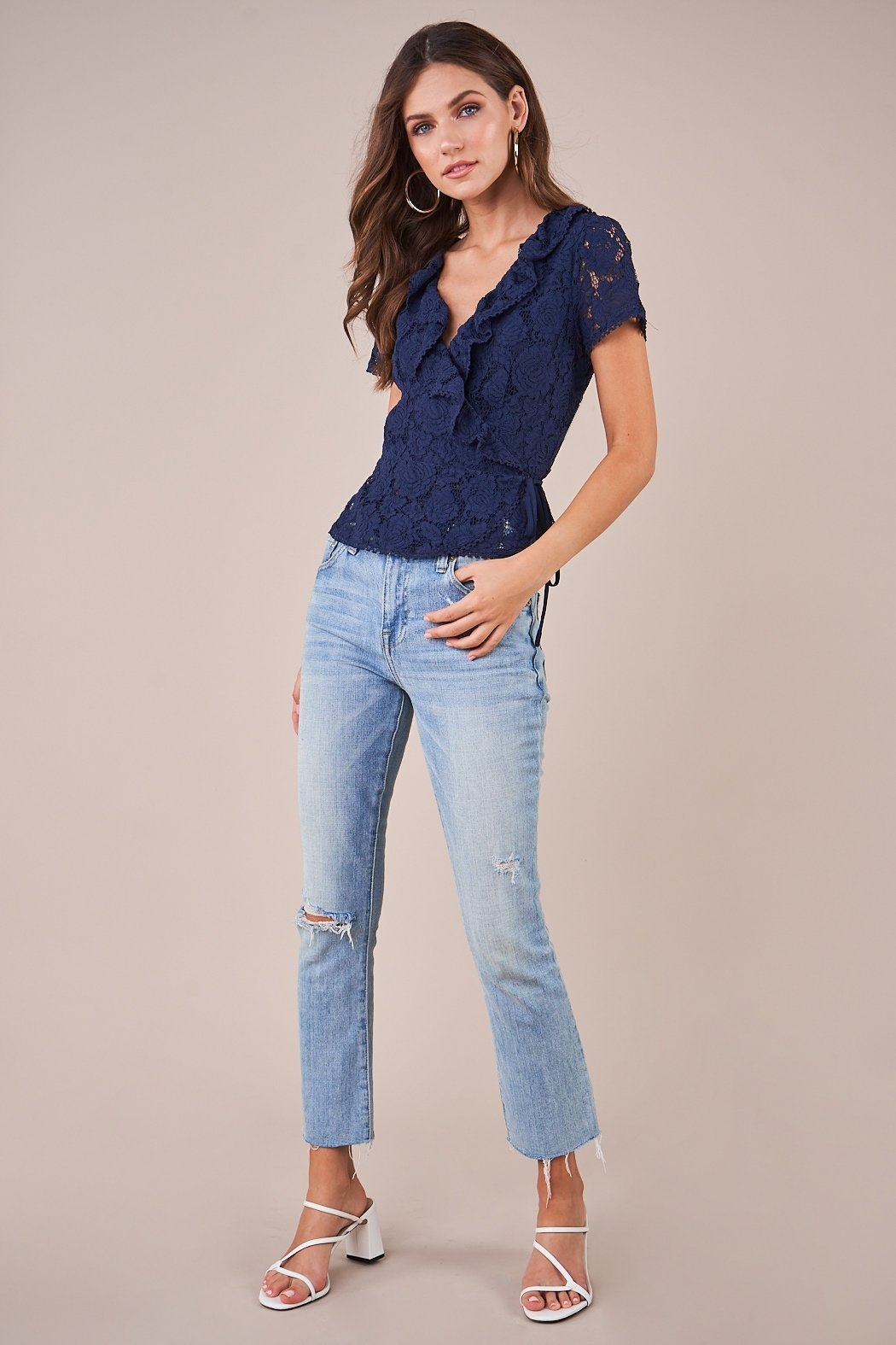 Sugarlips Chantilly Lace Wrap Top - Side Cropped Image