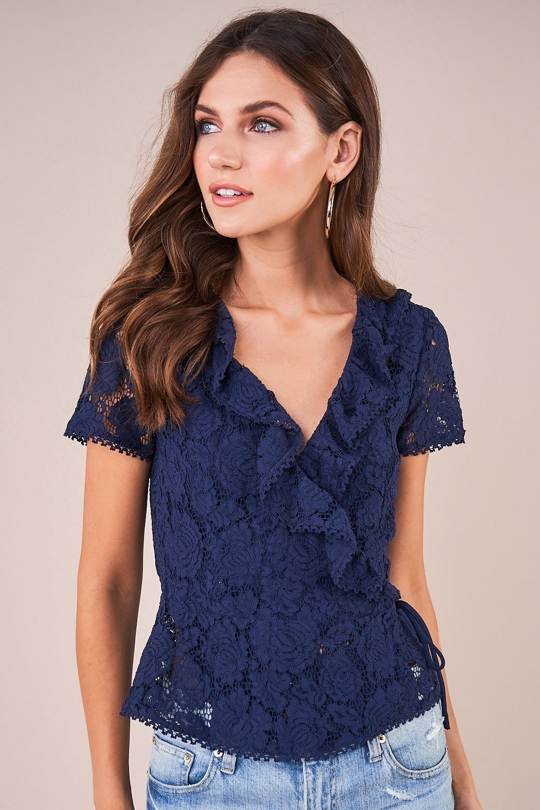 Sugarlips Chantilly Lace Wrap Top - Front Cropped Image