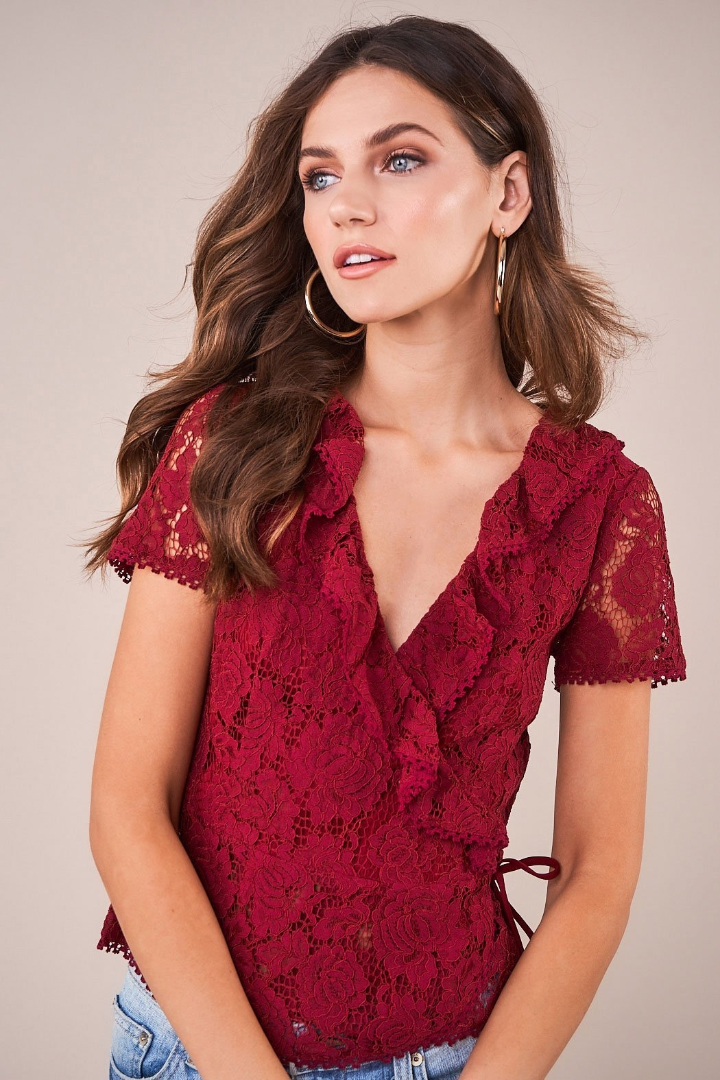 Sugarlips Chantilly Lace Wrap Top - Back Cropped Image