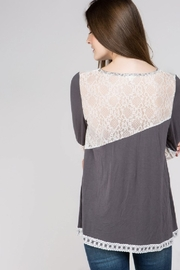 POL  Charcoal asymmetrical long sleeve knit with lace trim - Product Mini Image