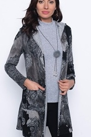 Frank Lyman Charcoal/black paisley duster sweater with hood - Product Mini Image