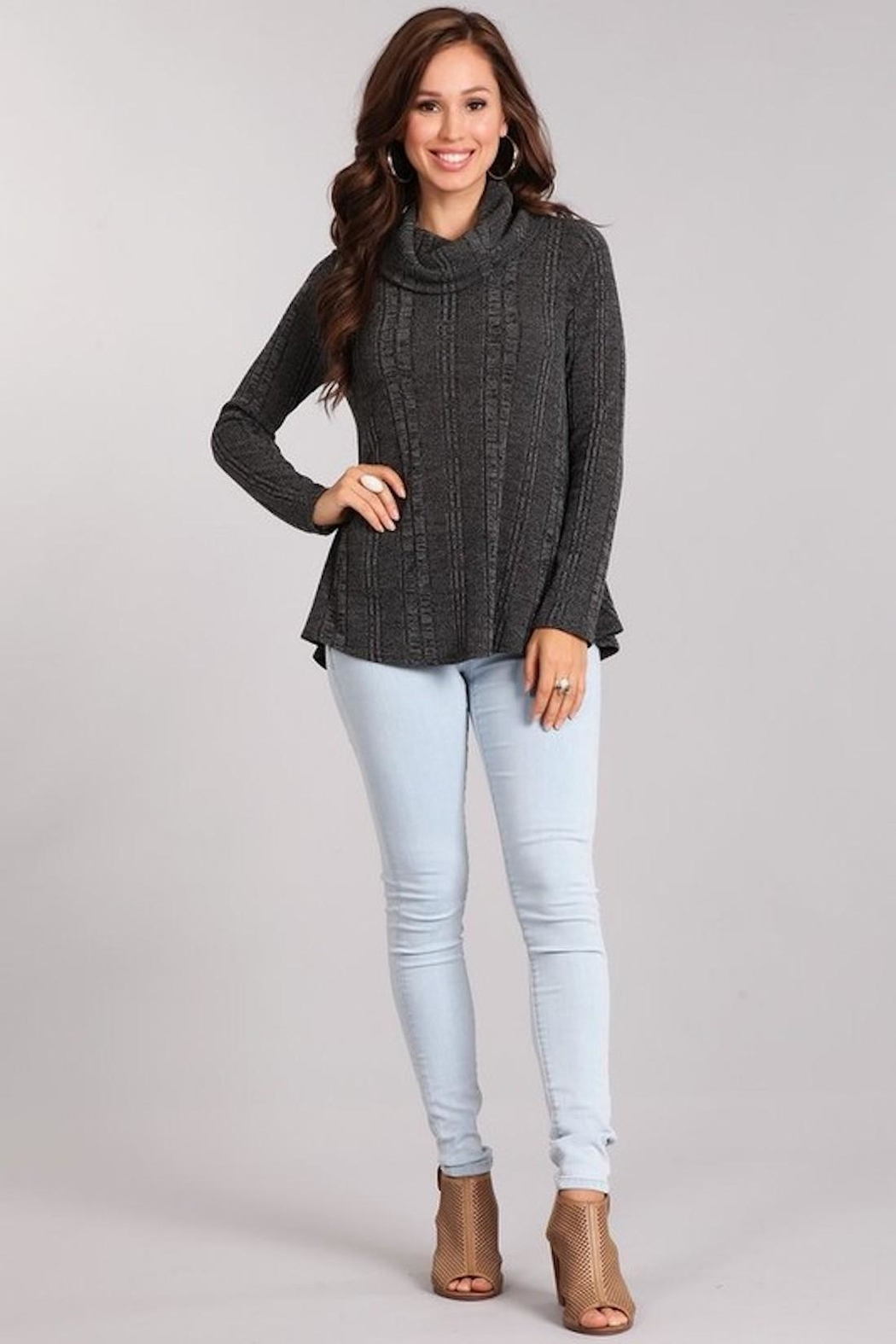 Chris & Carol Charcoal Cowl-Neck Sweater - Front Full Image