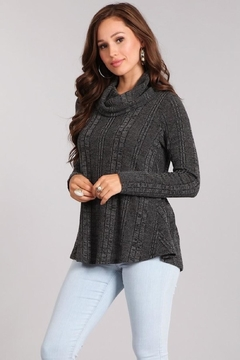 Chris & Carol Charcoal Cowl-Neck Sweater - Product List Image
