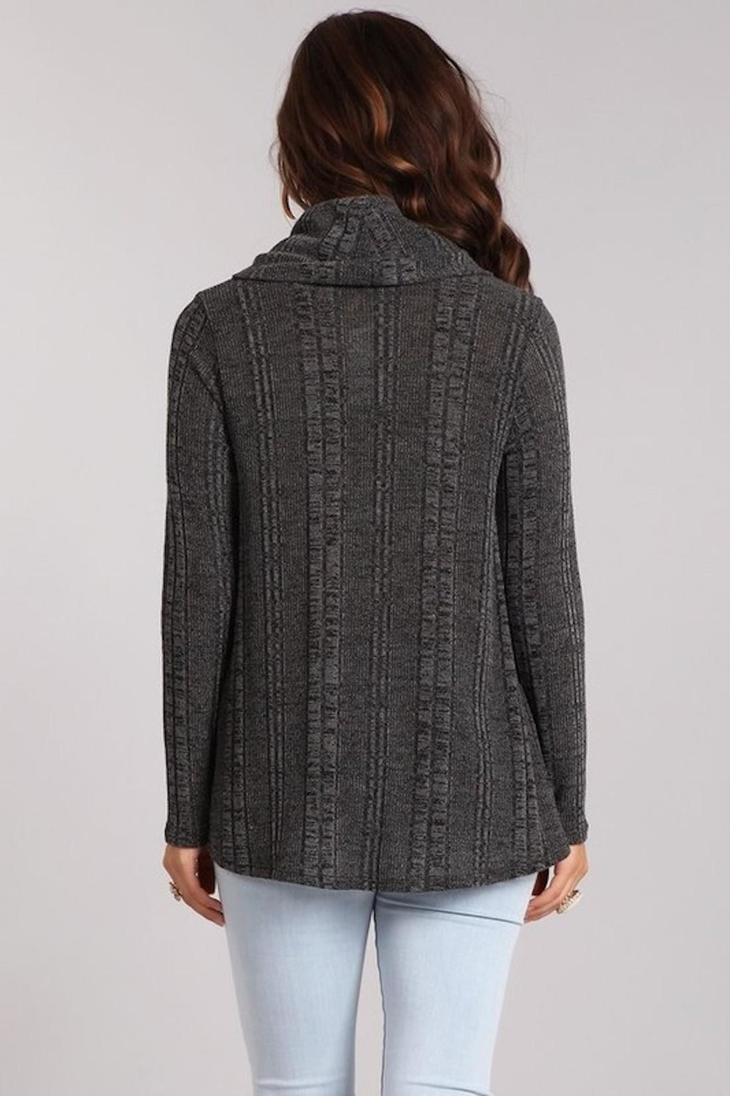 Chris & Carol Charcoal Cowl-Neck Sweater - Side Cropped Image
