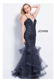 Jovani Charcoal Embellished Gown - Product Mini Image