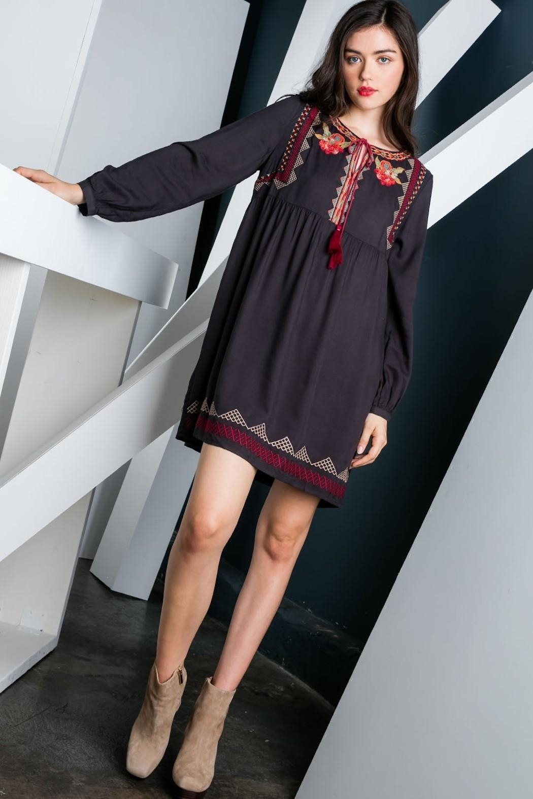 THML Clothing Charcoal Embroidered Dress - Front Full Image