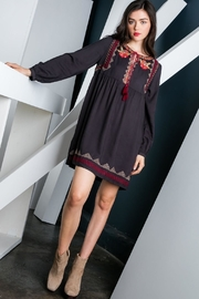 THML Clothing Charcoal Embroidered Dress - Front full body
