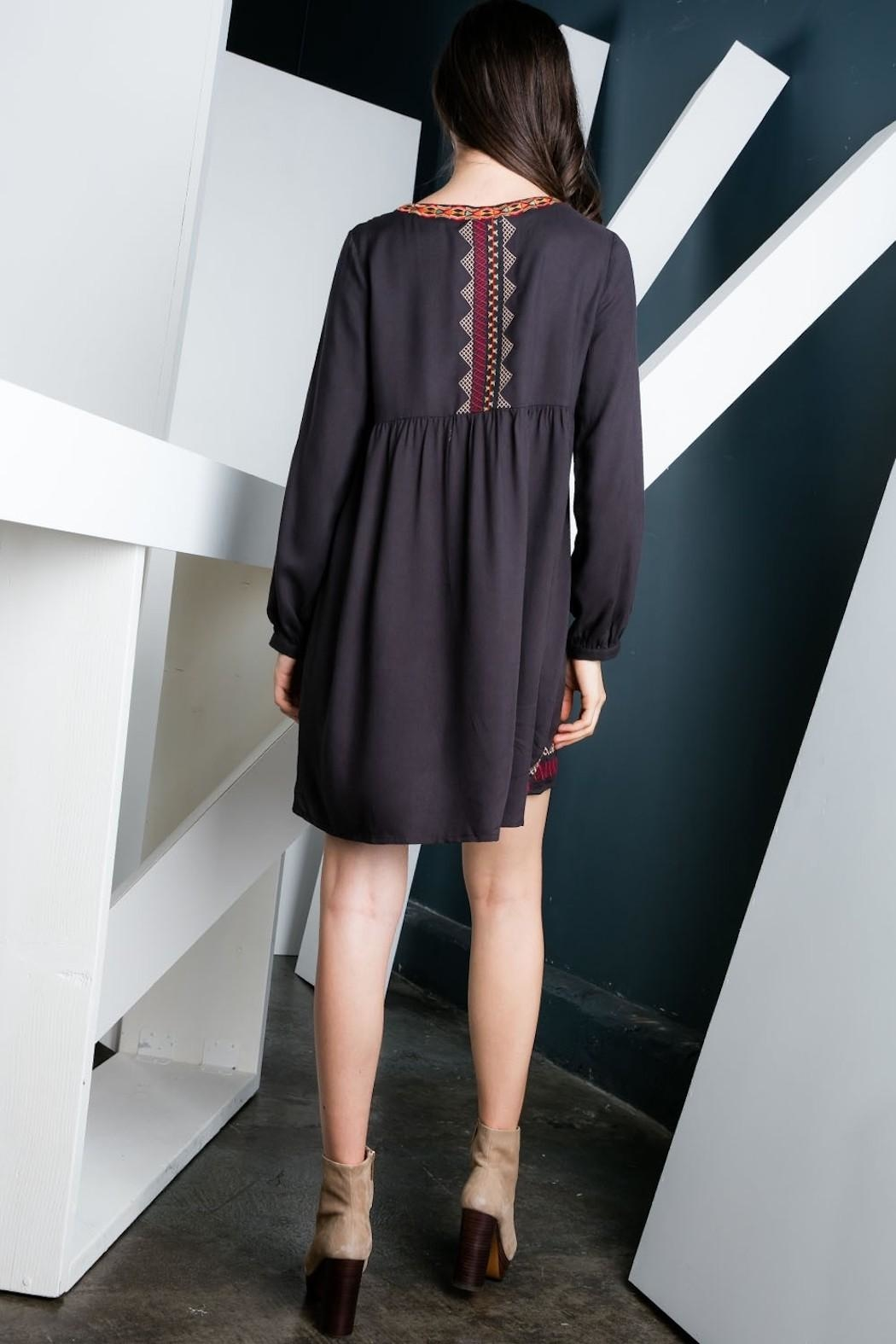 THML Clothing Charcoal Embroidered Dress - Side Cropped Image