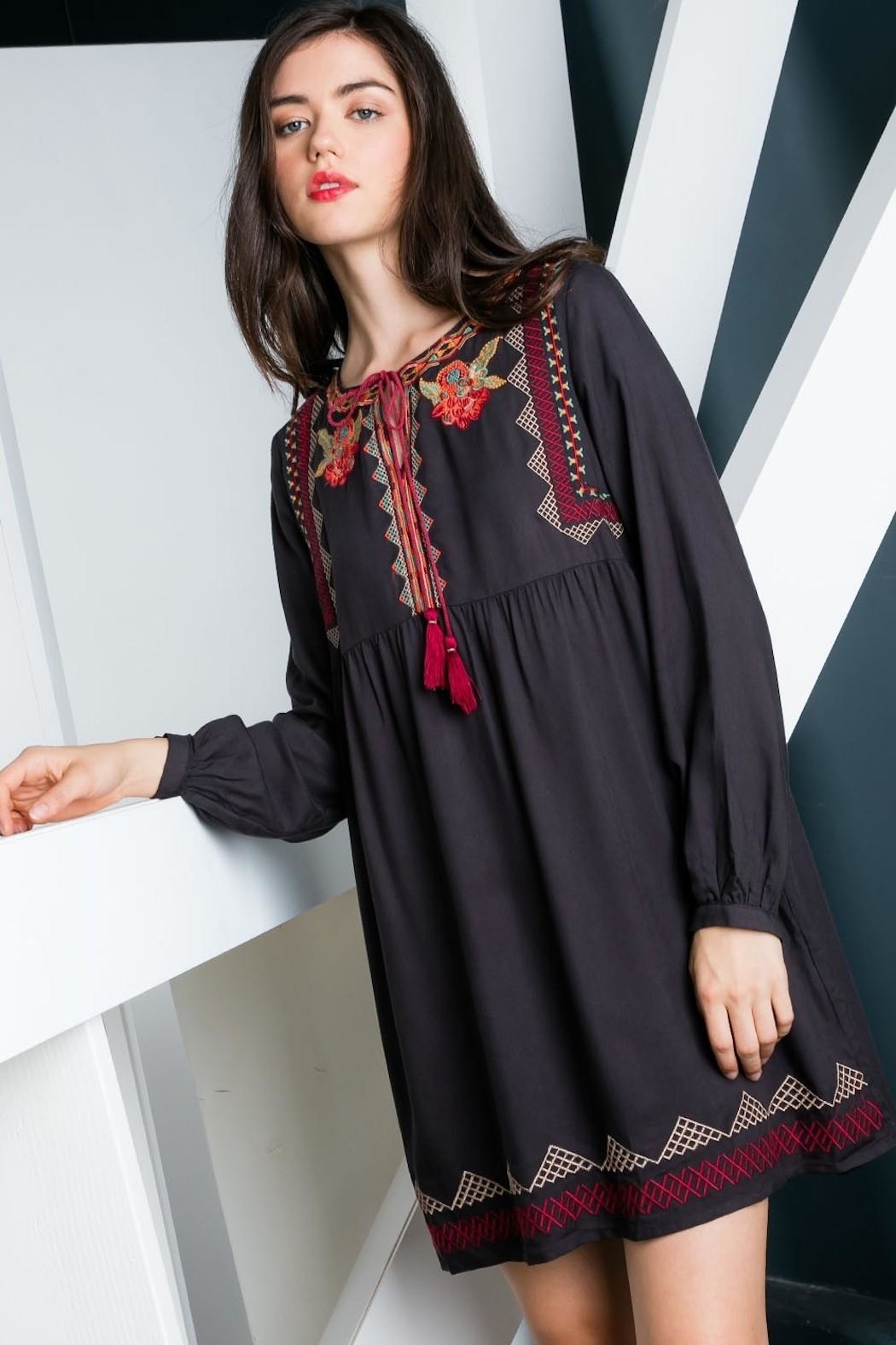 THML Clothing Charcoal Embroidered Dress - Back Cropped Image