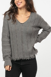 Very J  Charcoal Fringe Sweater - Front cropped