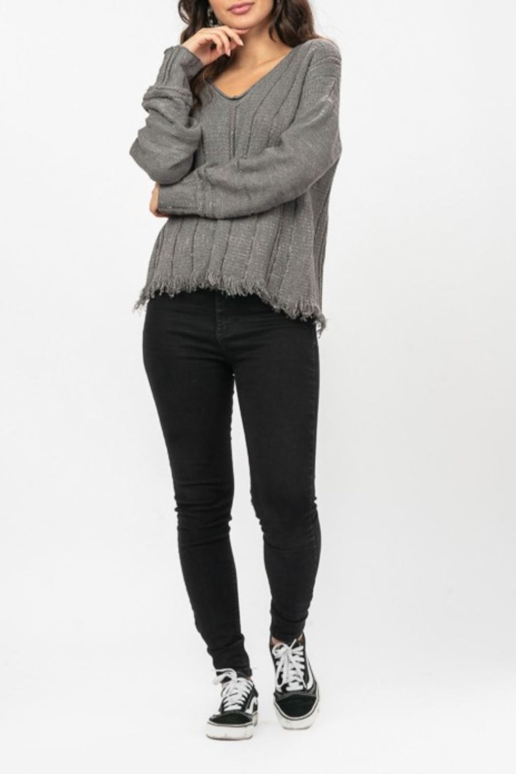 Very J  Charcoal Fringe Sweater - Side Cropped Image