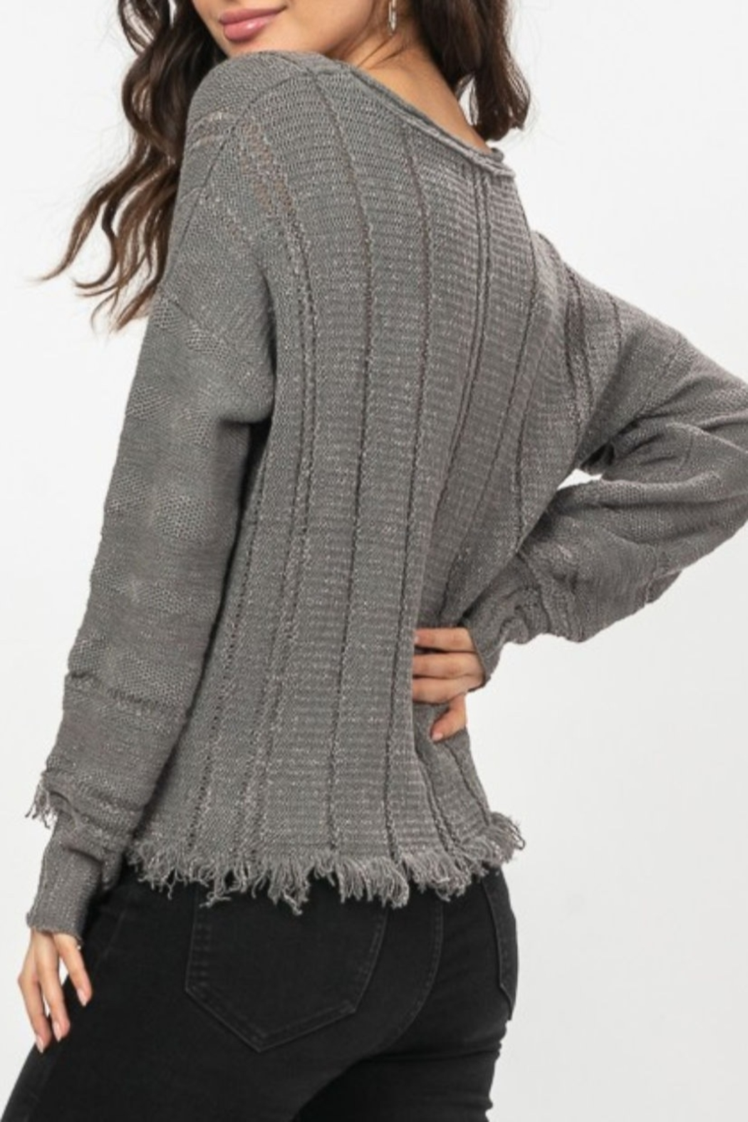 Very J  Charcoal Fringe Sweater - Front Full Image
