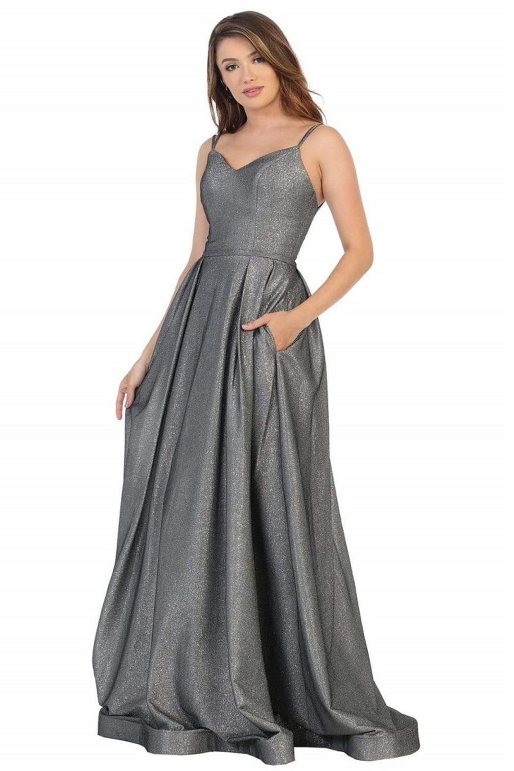 May Queen  Charcoal Glitter A-Line Formal Long Dress - Main Image