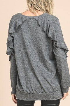 vanilla bay Charcoal gray knit with ruffle sleeve detail - Alternate List Image