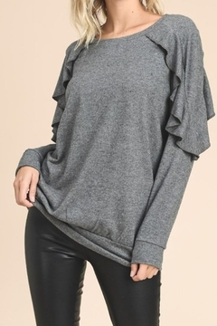 vanilla bay Charcoal gray knit with ruffle sleeve detail - Product List Image