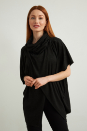 Joseph Ribkoff  Charcoal grey cowl neck cape-like top. - Front cropped