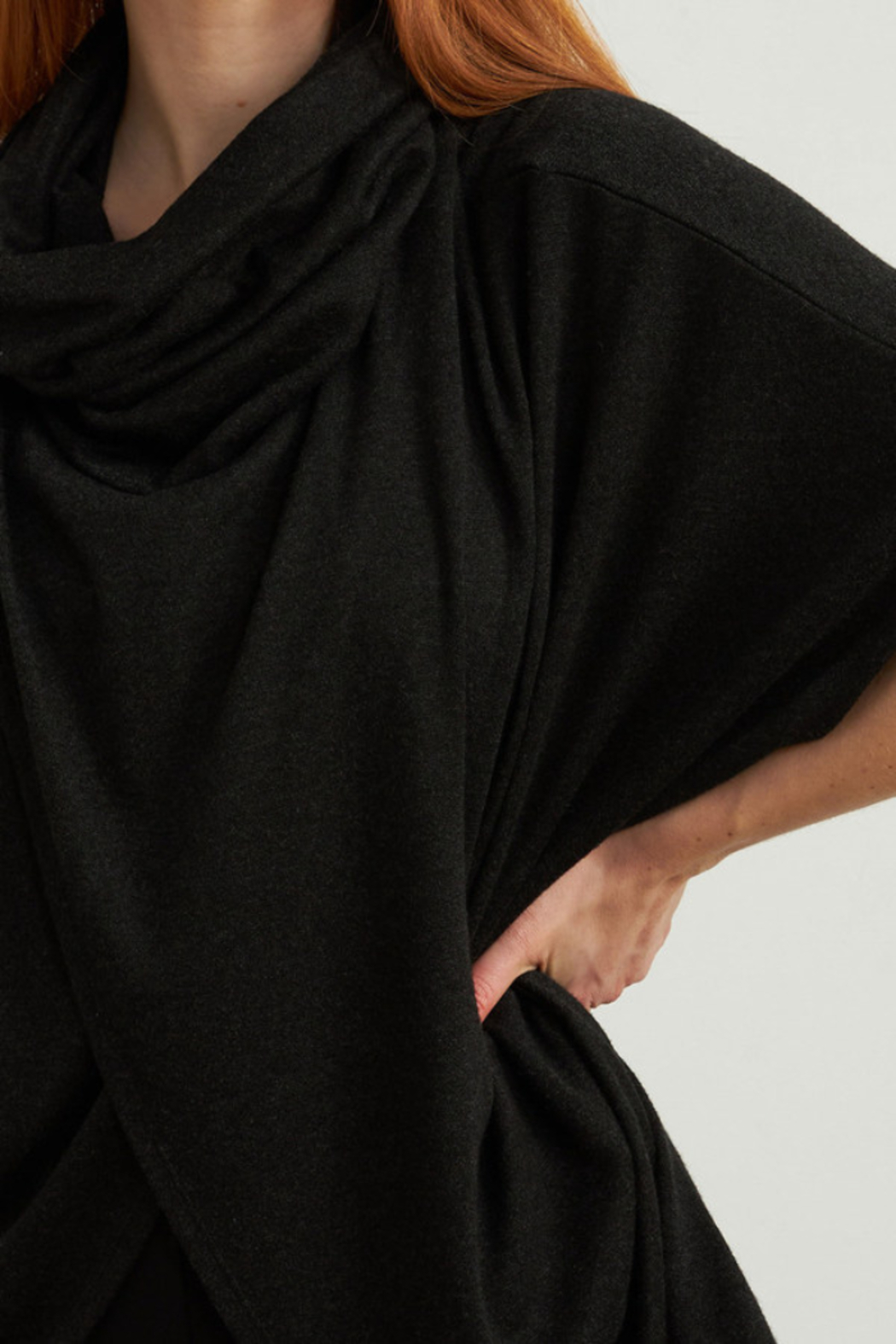Joseph Ribkoff  Charcoal grey cowl neck cape-like top. - Side Cropped Image