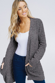 Racheal Charcoal Long Sleeve Open Front Popcorn Cardigan with Pockets - Product Mini Image