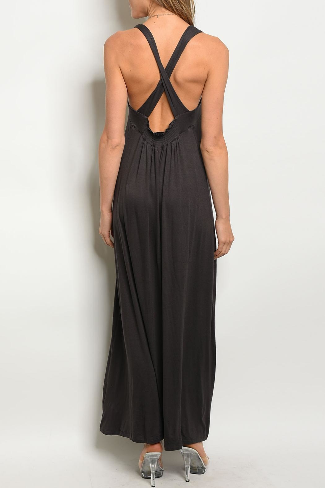 Mustard Seed Charcoal Maxi Dress - Front Full Image