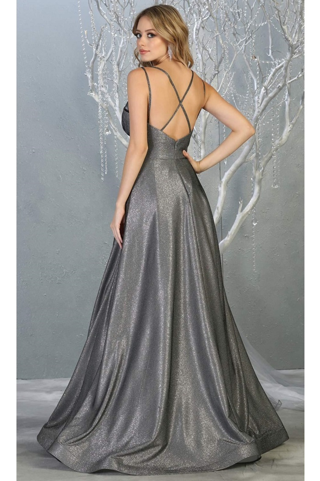 May Queen  Charcoal Metallic Ruched A-Line Formal Long Dress - Front Full Image