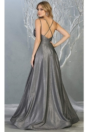May Queen  Charcoal Metallic Ruched A-Line Formal Long Dress - Front full body