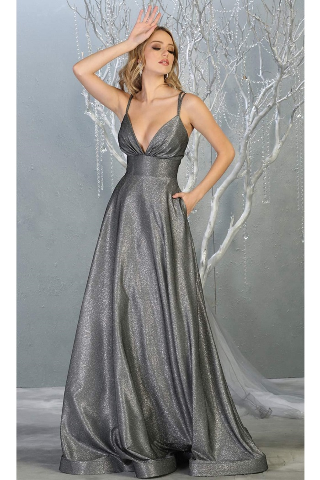 May Queen  Charcoal Metallic Ruched A-Line Formal Long Dress - Main Image