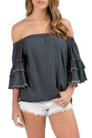 Elan Charcoal Off-The-Shoulder Top - Product Mini Image