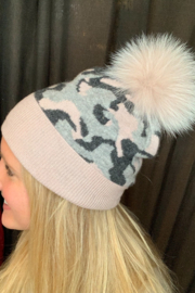 Mitchies Matching Charcoal Pink Grey Camo Fox Pom - Front cropped
