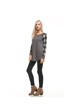 12pm by Mon Ami Charcoal Plaid Sweater - Alternate List Image