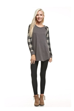 12pm by Mon Ami Charcoal Plaid Sweater - Product List Image