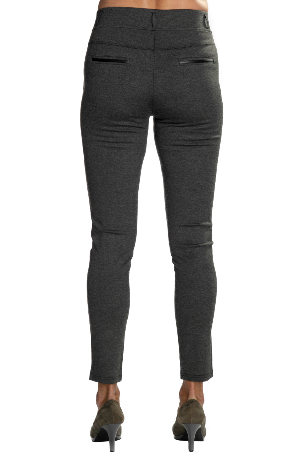 Patrizia Luca Charcoal  pull-on Jegging with Leather Side Stripe - Side Cropped Image