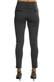 Patrizia Luca Charcoal  pull-on Jegging with Leather Side Stripe - Side cropped