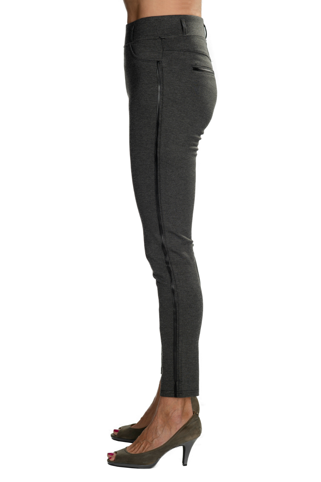 Patrizia Luca Charcoal  pull-on Jegging with Leather Side Stripe - Front Full Image