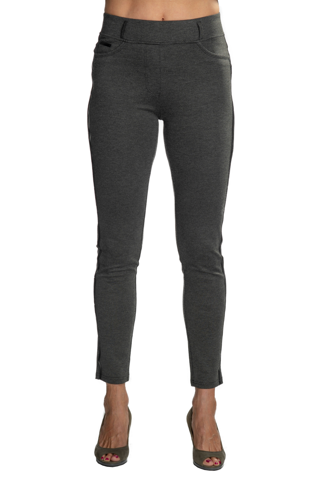 Patrizia Luca Charcoal  pull-on Jegging with Leather Side Stripe - Main Image