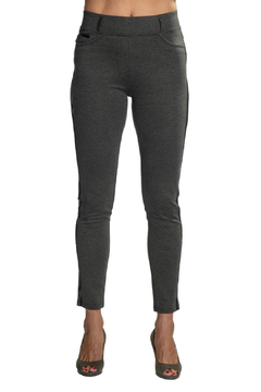 Patrizia Luca Charcoal  pull-on Jegging with Leather Side Stripe - Product List Image