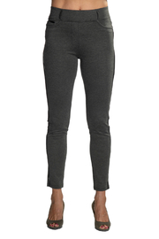 Patrizia Luca Charcoal  pull-on Jegging with Leather Side Stripe - Product Mini Image