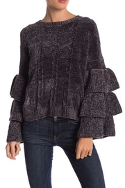 Elan Charcoal Ruffle-Tiered Sweater - Product Mini Image
