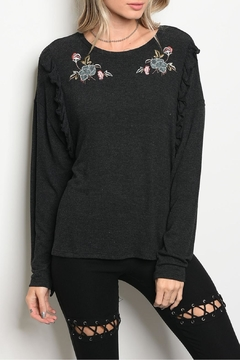 Mustard Seed Charcoal Ruffle Top - Product List Image