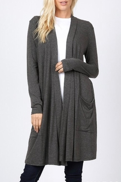 Zenana Outfitters Charcoal Slouchy-Pocket Cardigan - Alternate List Image