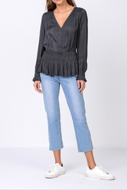 Current Air Charcoal Smocked Waist V Neck Blouse - Product Mini Image