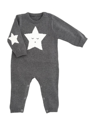 Elegant Baby Charcoal Star Jumpsuit - Product Mini Image